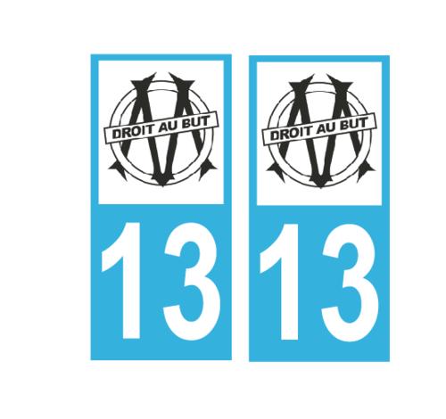 Lot 2 Stickers plaque immatriculation Voiture Marseille - 02