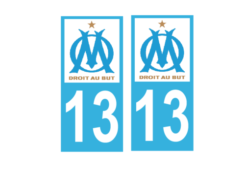 Lot 2 Stickers plaque immatriculation Voiture Marseille - 03