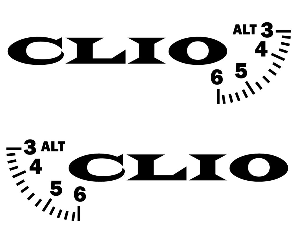 Lot de 2 Stickers RENAULT CLIO modèle 01 - 450 x 131mm