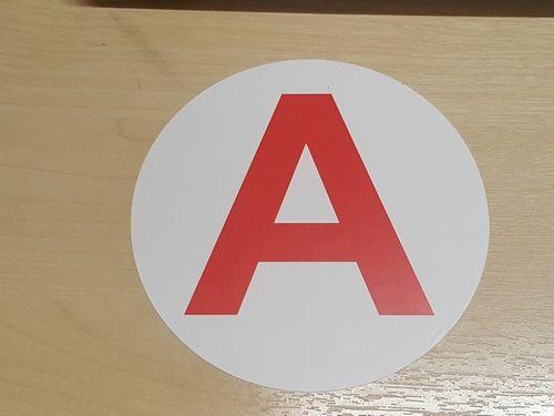 Sticker plaque A - Jeune conducteur moto 10cm micro ventousé