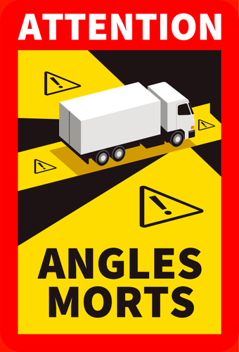 Stickers Attention angles morts Camion 25x17cm