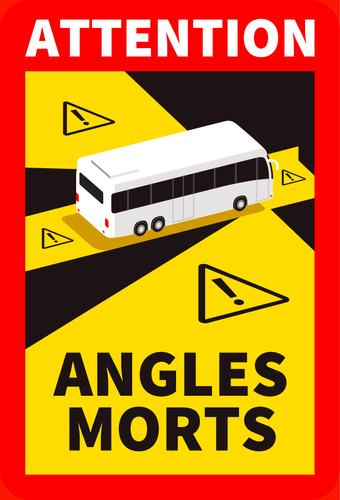 Autocollant Attention angles morts Bus 25x17cm