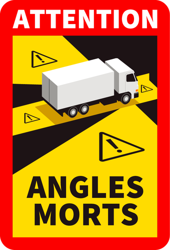Autocollant Attention angles morts Camion 25x17cm