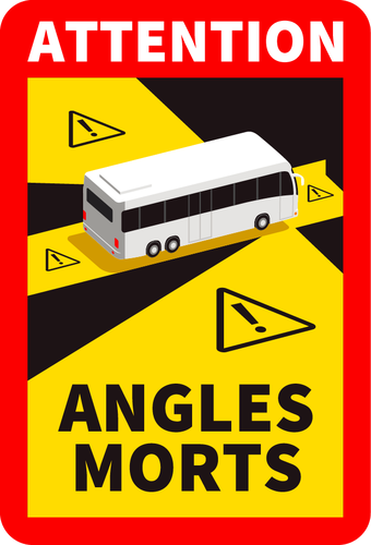 Sticker Attention angles morts Bus 25 x 17 cm